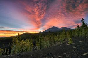 Amanecer encendido con Teide nevado desde norte de Tenerife - Vicente R. Bosch