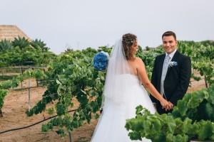 Novios entre viñedos